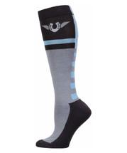 TuffRider Impulsion Knee Hi Socks with Neon Accents - Neon Blue