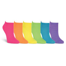 K. Bell Women's Solid Neon No-Show / 6-Pair of Socks per Pack