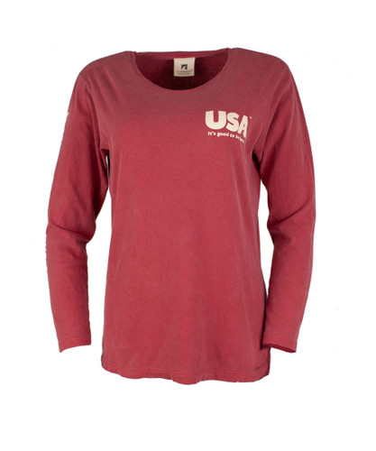TownWear USA Long Sleeve Tee - Crimson Front