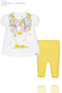 Baby Girl Bow Leggings & Duck Print Yellow Blouse Set