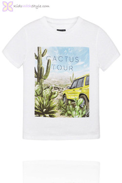 Boys Graphic Cactus Graphic T-Shirt in White