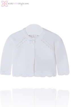 Baby Girl Knitted Cardigan in White