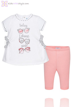 Baby Girl Leggings & Blouse Set in Pink