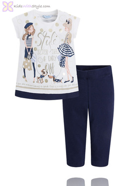 """Girls Leggings & Blouse Set """"Style Never Takes A Day Off"""" in Navy"""
