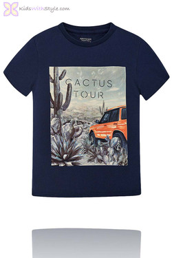 Boys Graphic Cactus Graphic T-Shirt in Navy