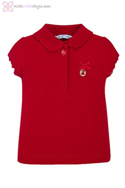 Baby Girl Lace Collared Blouse in Red