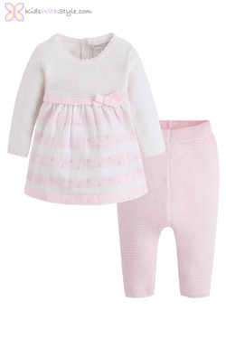 Baby Girl Knit Dress Set in Pink