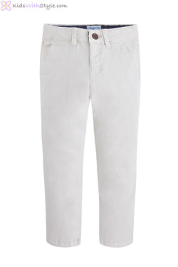 Boys Twill Chino Long Trousers in Light Grey