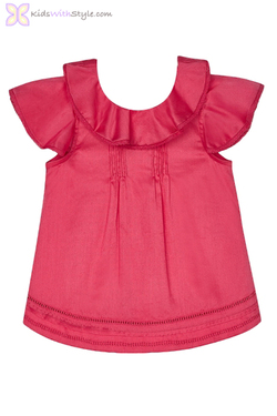 Baby Girls Ruffled Embroidered Blouse in Dark Pink