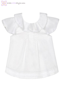 Baby Girls Ruffled Embroidered Blouse in White