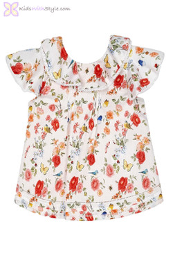 Baby Girls Ruffled Embroidered Blouse in Floral Print