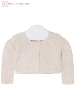 Baby Girl Knit Cardigan with Ruffles in Beige
