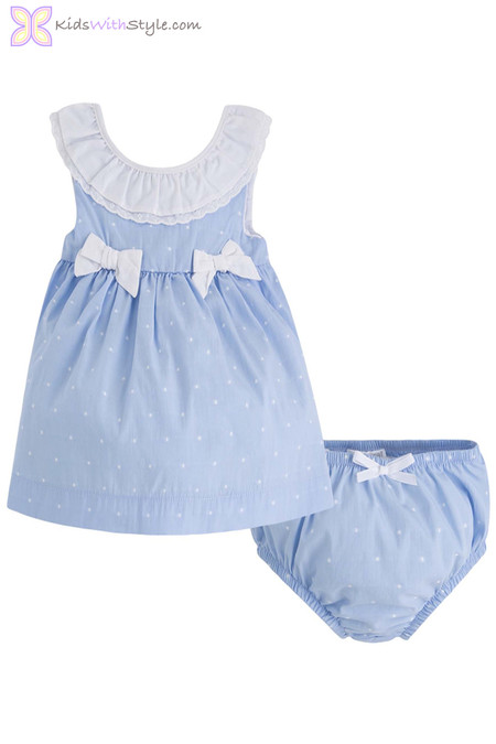 Baby Girl Bow Dress Set in Blue