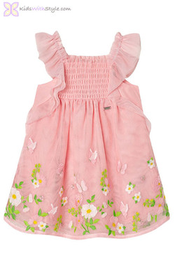 Baby Girl Butterfly Tulle Dress in Blush