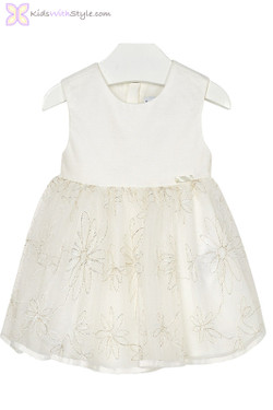 Baby Girls Chic Tulle Dress in Ivory