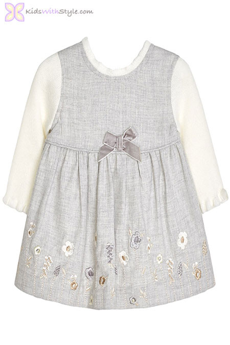 Baby Girl Embroidered Pinafore Dress in Light Grey