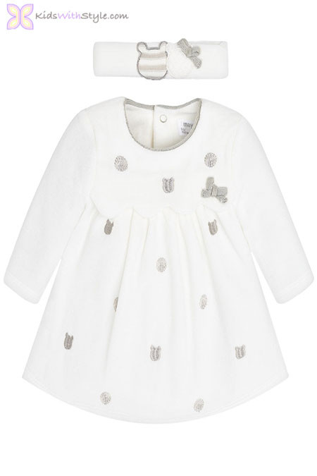 Baby Girl Velour Dress with Headband in Off-White