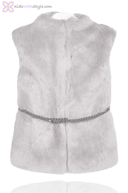 Grey Faux Fur Vest with Braided Belt