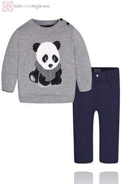 Baby Boy Panda Sweater and Pants Set