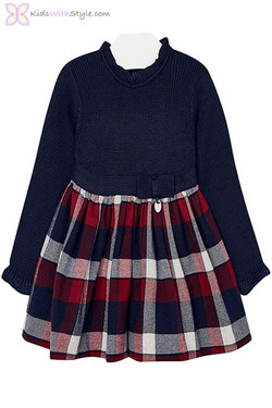 Baby Girl Red and Navy Plaid Knit Dress