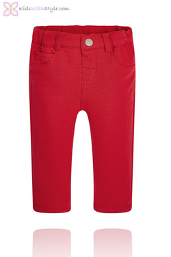 Baby Girl Red Jersey Jeggings