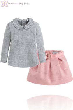 Girls Long Sleeved Grey Blouse and Pink Strass Skirt Set