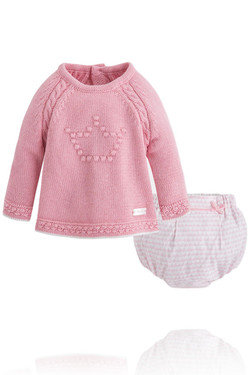 Baby Girl Matching Pink Sweater and Bloomer Set