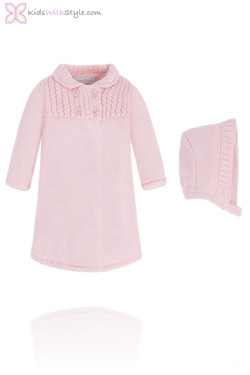 Knitted Pink Baby Coat & Bonnet Set