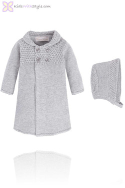 Knitted Grey Baby Coat & Bonnet Set