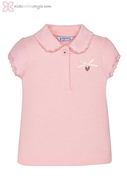 Baby Girl Lace Collared Blouse in Pink