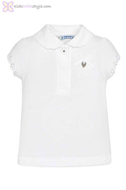 Baby Girl Lace Collared Blouse in White