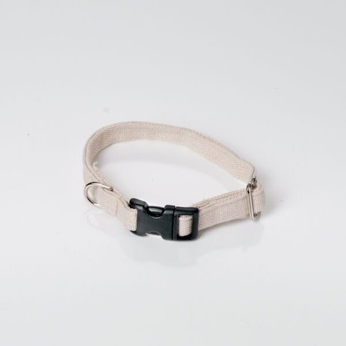Hemp dog collar for smaller dogs.  Natural dog collar made in the USA.  Black plastic buckle.  Natural oatmeal color- dye free. Made in America.