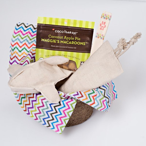 Gift basket for dogs.  Organic dog toys.  Made with love in the USA.  Purrfectplay.com