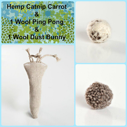 Gift box for cats. Natural organic cat toys, made in the USA. Purrfectplay.com Organic catnip hemp toys and wool balls.