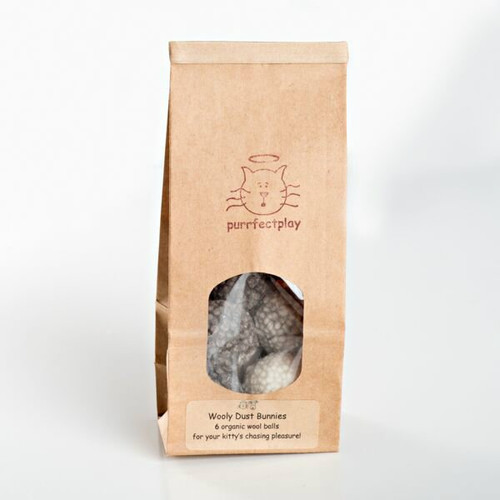Organic Wool Dust Bunny cat toy.  Made in the USA from pasture raised organic wool.  Small bouncy cat ball toy.
