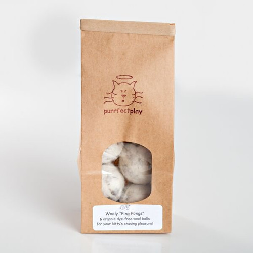 Organic Wooly Ping Pongs-- natural cat toys.  Wool cat balls. Made in the USA.