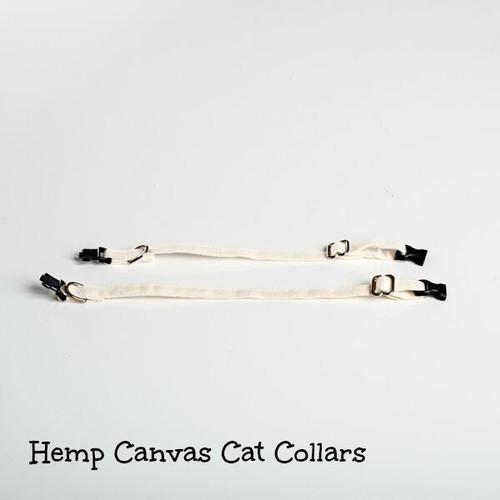 Comfortable hemp cat collars.  Natural cat collar made in USA. Break away cat collar.