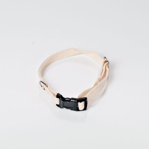 Small hemp dog collar for toy sized small dogs.  Natural hemp dog collar made in the USA. Dye free- natural oatmeal color. Black or white buckle.