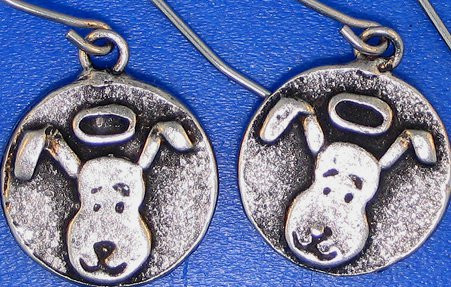 Dog head earrings.  Lead free pewter earrings.  Handmade in the USA.