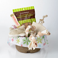 Holiday gift basket for small dogs.  Organic dog toys, made in the USA. Purrfectplay.com