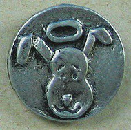 Dog head pin.  Lead free pewter. Handmade in Chicago.  Tie tack backed pin.