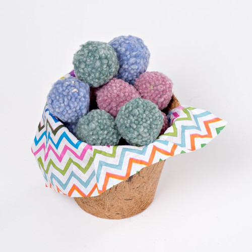 Organic Wool Dust Bunny cat toy.  Made in the USA from pasture raised organic wool. A lovely gift of 12 small bouncy cat ball toys.
