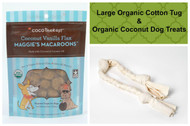 Spring gift bag for Dogs. Organic Cotton Dog Tug and gluten free natural dog treats. Made in the USA. Purrfectplay.com