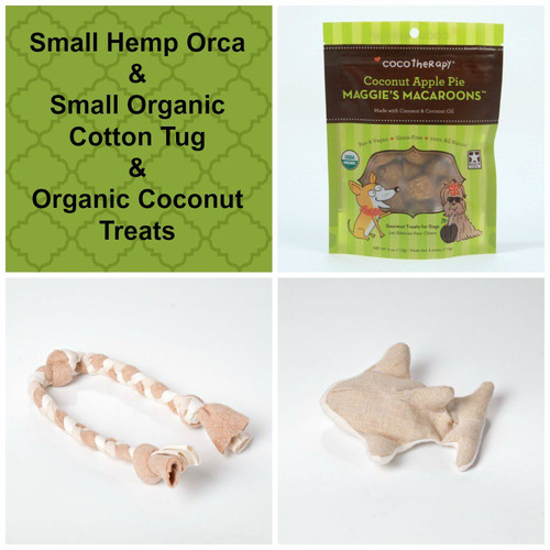 Spring gift bag for Dogs.  Hemp dog toy, organic cotton tug,  and gluten free natural dog treats. Made in the USA.  Handmade gift bag and tag.  Purrfectplay.com