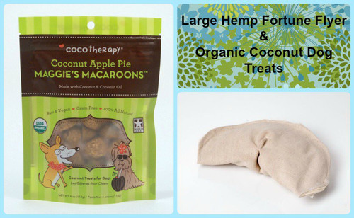 Gift bag for Dogs.  Hemp dog toy and gluten free natural dog treats. Made in the USA.  Handmade gift bag and tag.  Purrfectplay.com