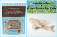 Gift bag for Dogs.  Hemp dog toy and gluten free natural dog treats. Made in the USA. Purrfectplay.com