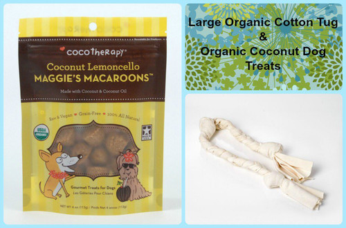 Gift bag for Dogs. Organic Cotton Dog Tug and gluten free natural dog treats. Made in the USA. Purrfectplay.com