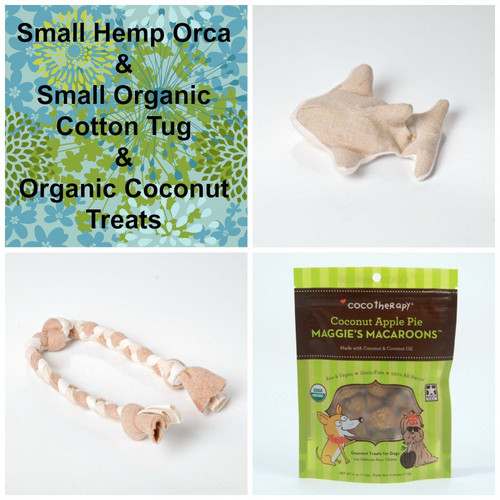 Gift bag for Dogs.  Hemp dog toy, organic cotton tug,  and gluten free natural dog treats. Made in the USA.  Handmade gift bag and tag.  Purrfectplay.com