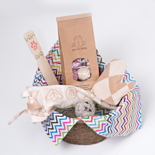 Fun gift basket for cats. Filled with organic natural cat toys made in the USA.  Feel the love!