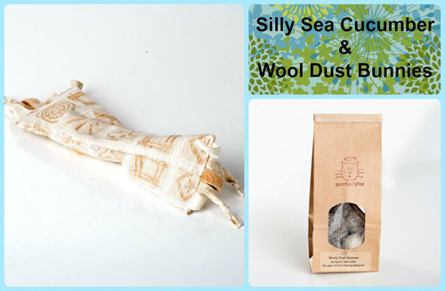 Large gift bag for cats.  Includes organic silly catnip sea cucumber and wool bunny chase toys.  Natural and organic cat toys, made in the USA.